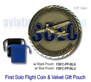 First Solo Flight Coin with Velvet Gift Pouch