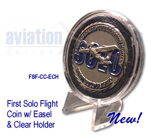 First Solo Flight Coin with Clear Holder and Easel